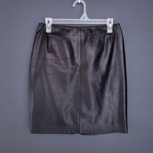 VINTAGE NYGARD Leather Pencil Skirt Zip Black 8
